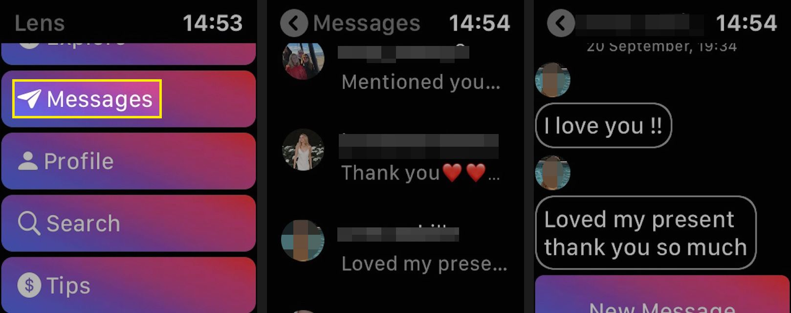 Tap Messages to read direct messages.