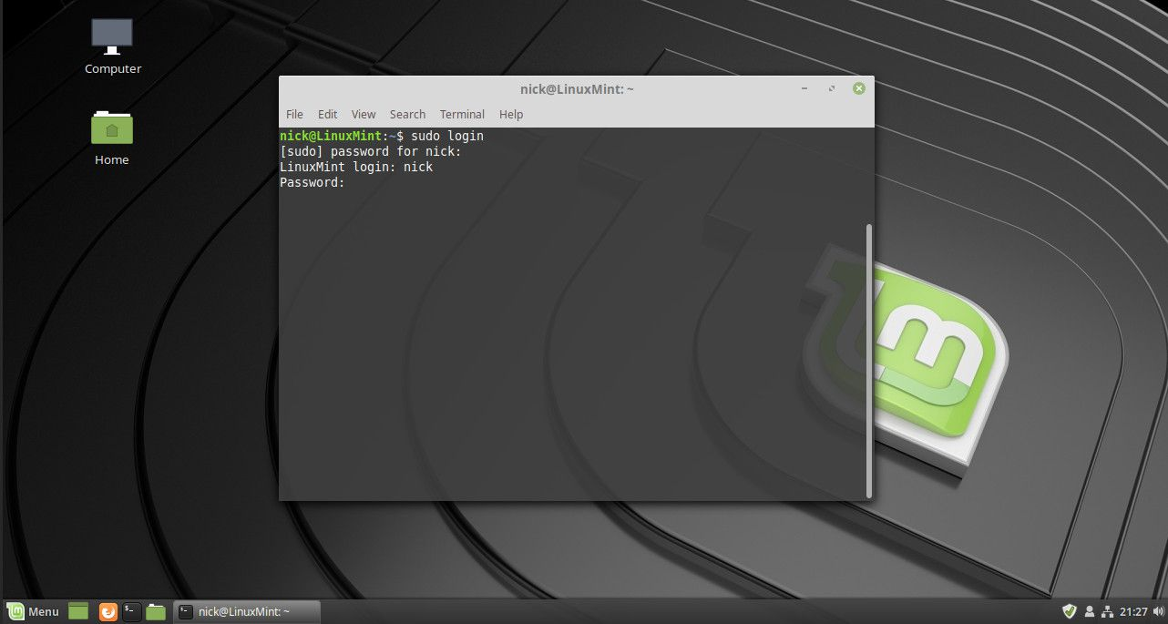 Linux login command