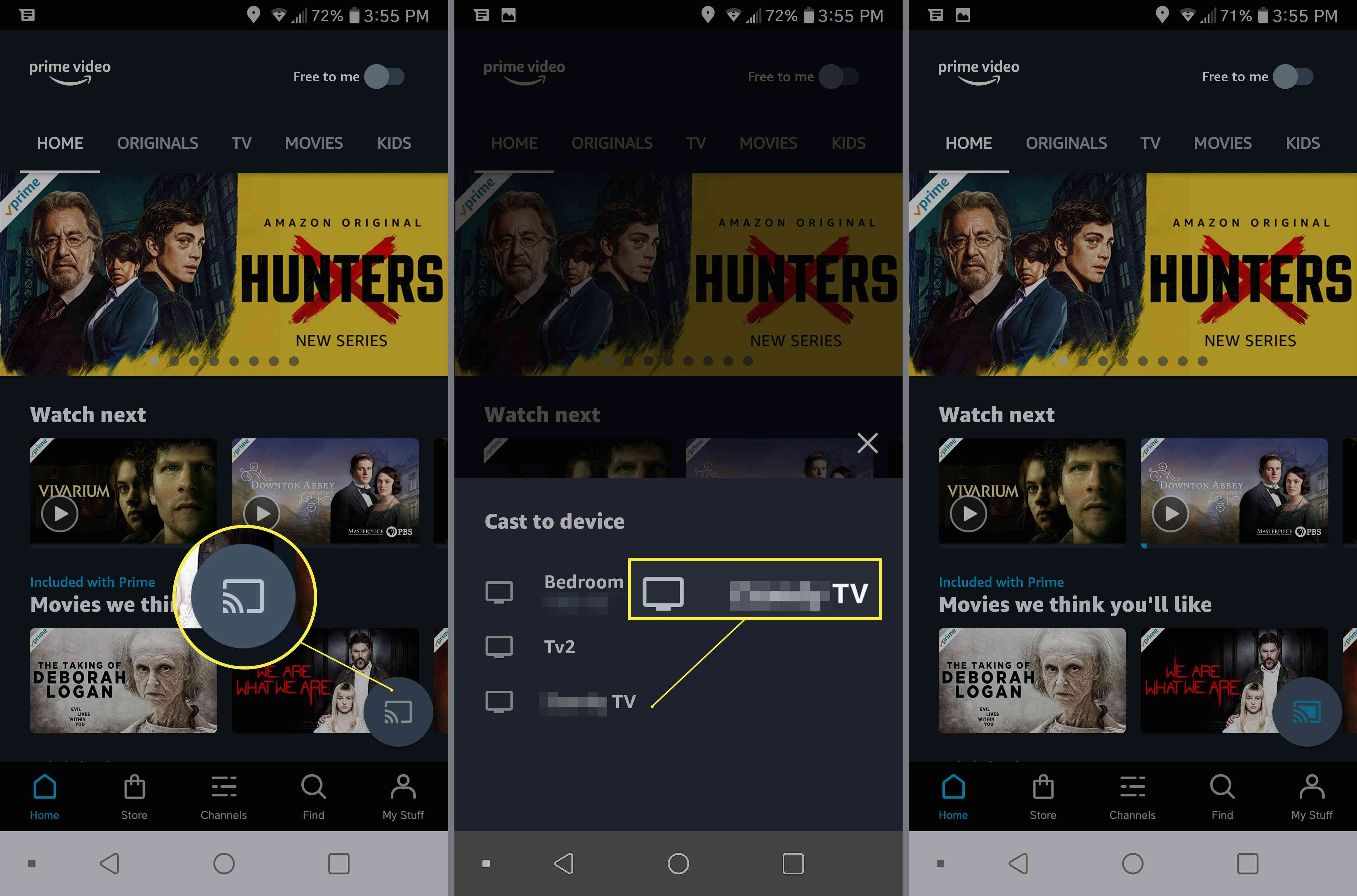 Setting up Prime Video app to cast to TV