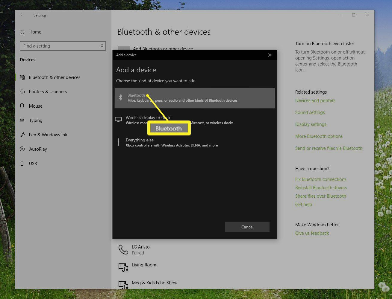 Add a device window in Windows