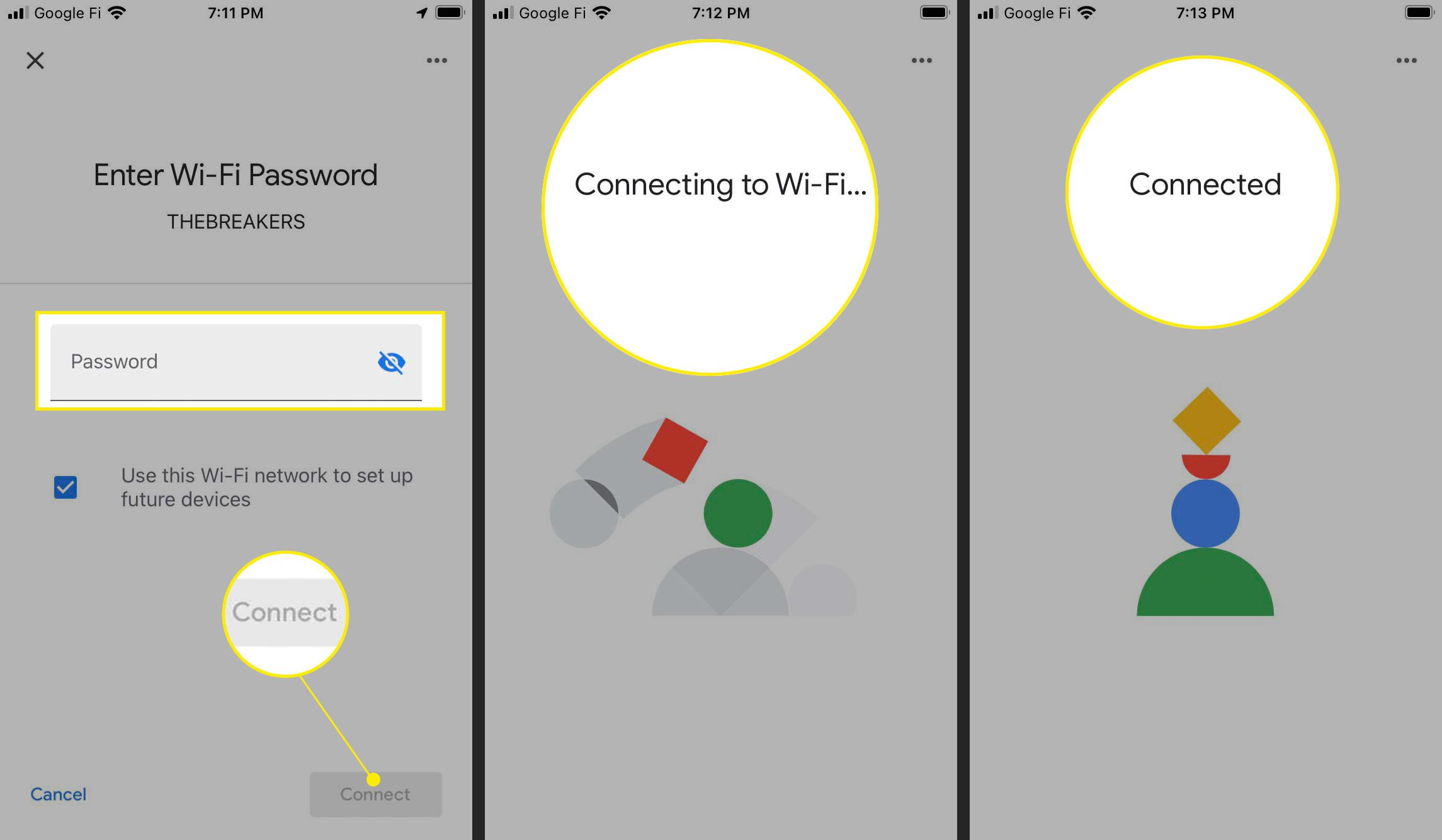 Chromecast Wi-Fi setup with password field, connect, Connecting to Wi-Fi, and Connected highlighted