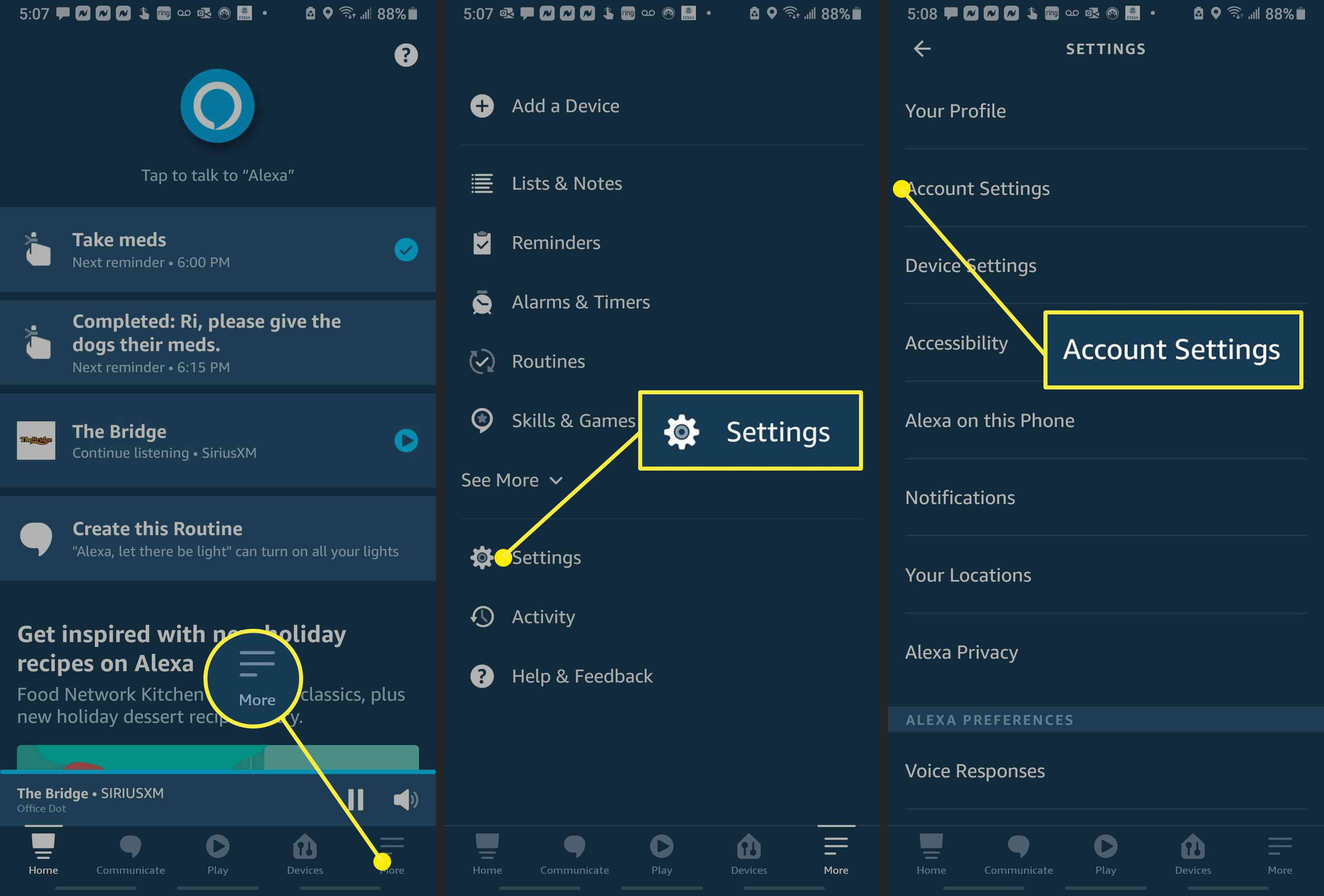 Screenshots of the Alexa app, showing how to access Account Settings.