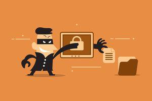 An illustration of a criminal stealing information through a computer.