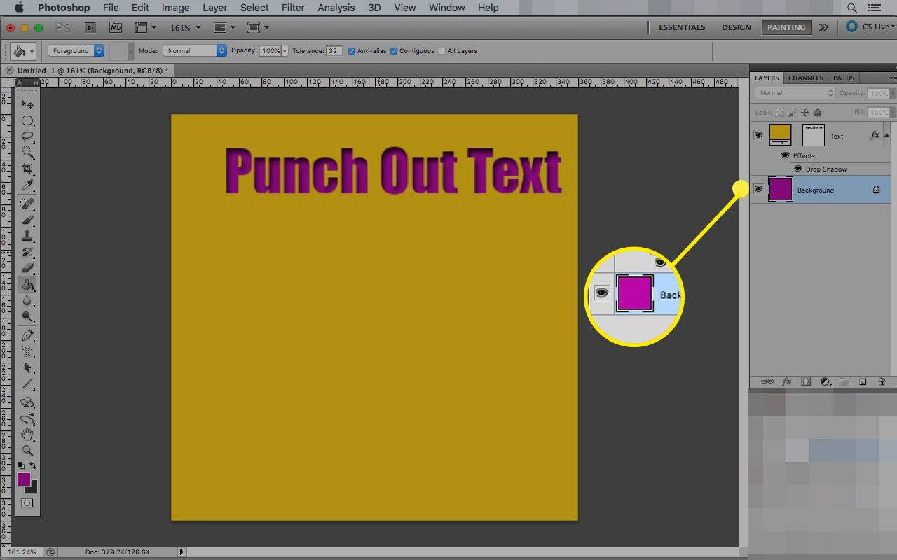 Photoshop on a Mac with the Background layer highlighted