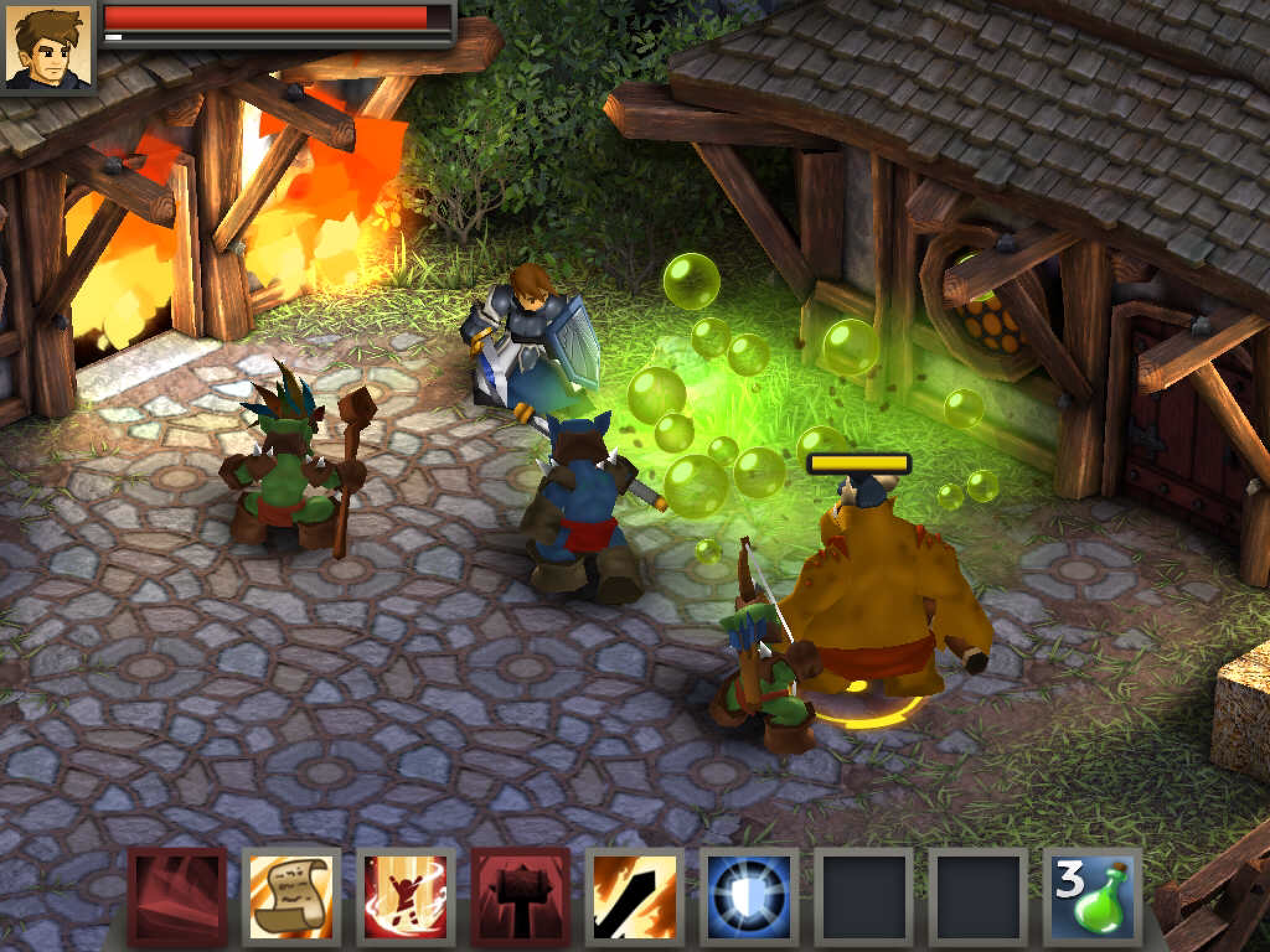 Battleheart Legacy characters gathered around green bubbles