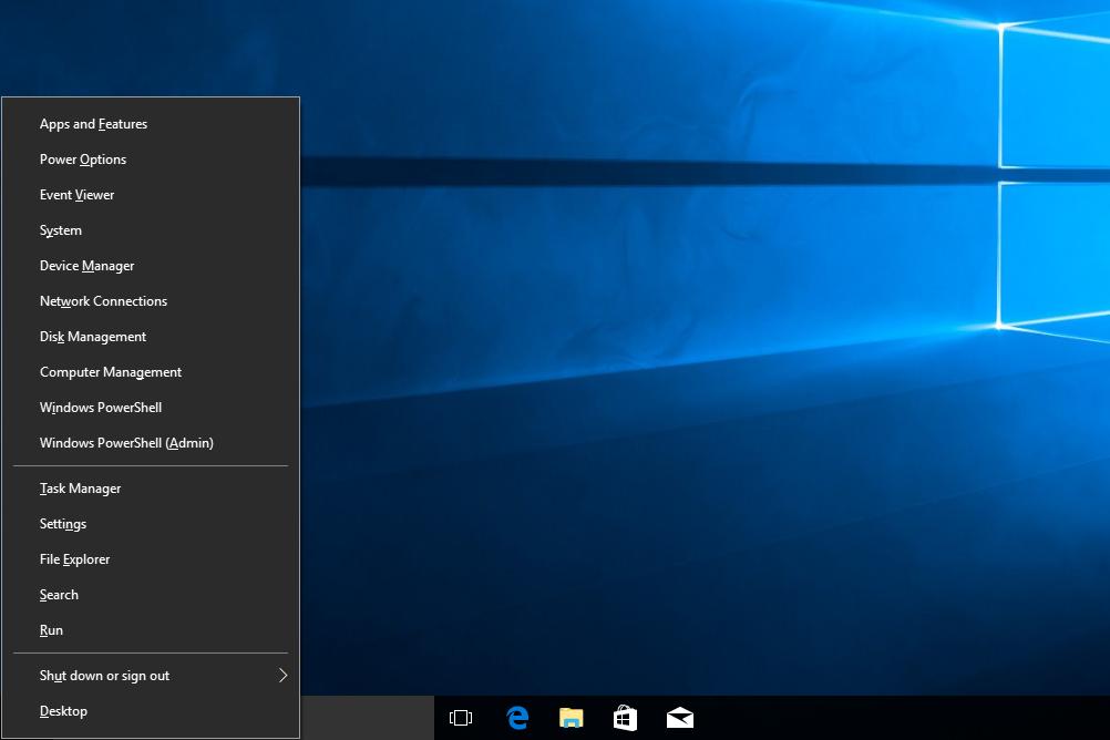 Power User Menu in Windows 10