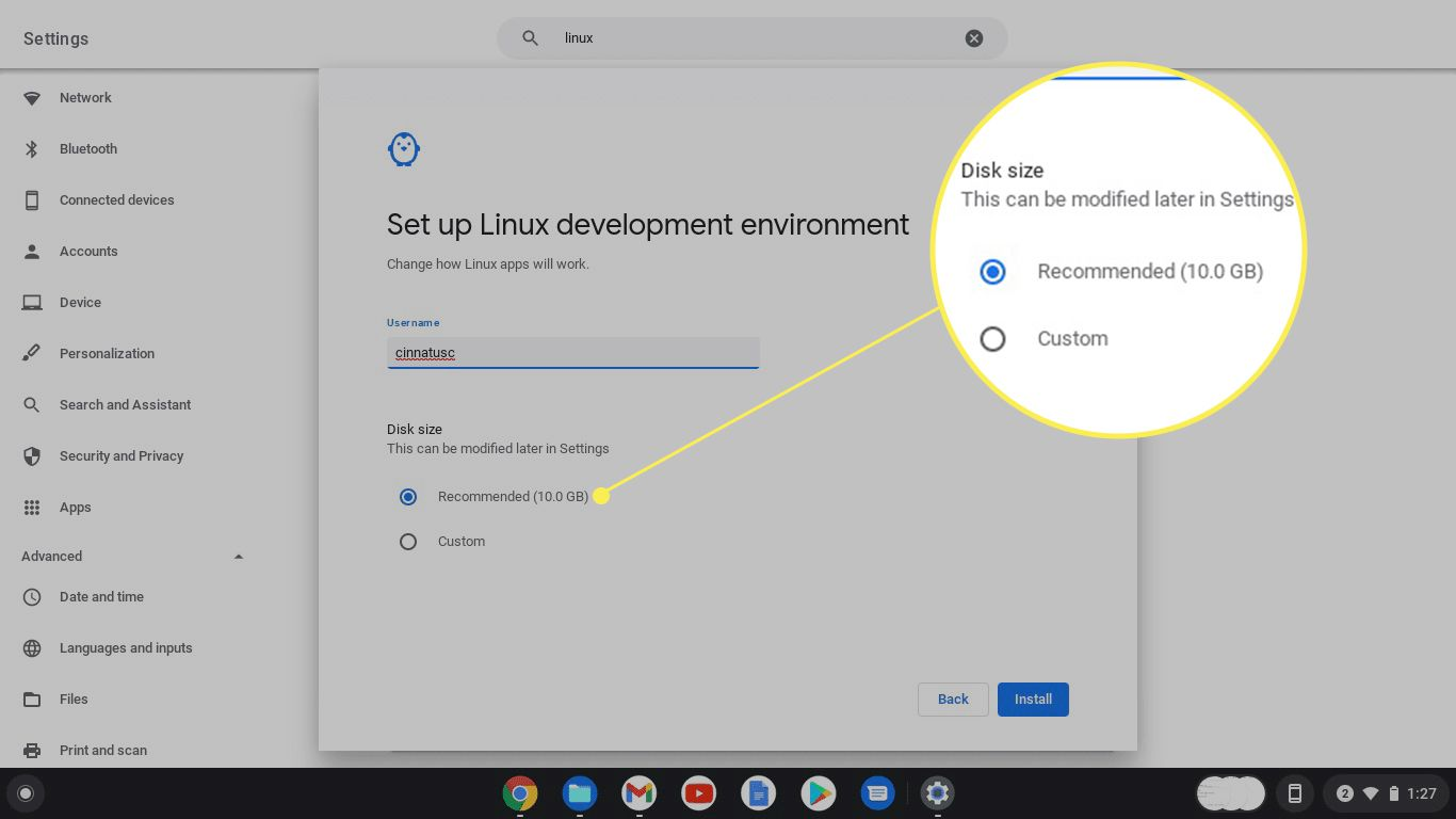 The Set Up Linux Development alert in Chrome OS with Disk Size options highlighted