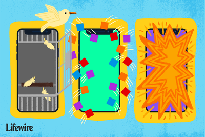 Illustration of three iPhone screens, one with a bird breaking free, one with apps coming onto the screen, and another exploding