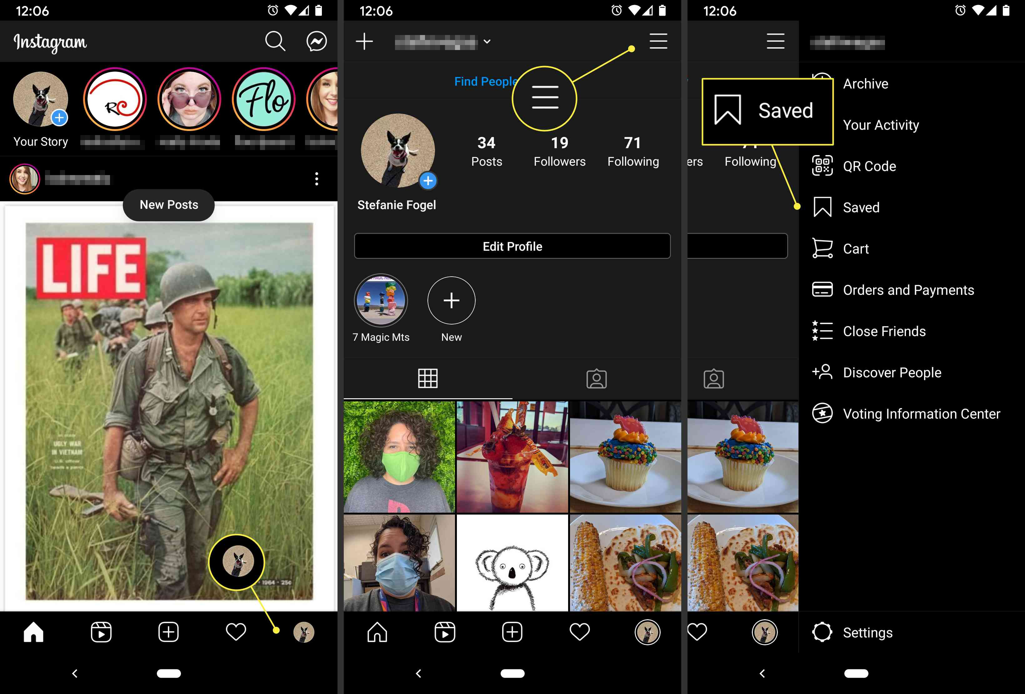 You can access your saved Instagram posts by going to your profile and selecting Saved.