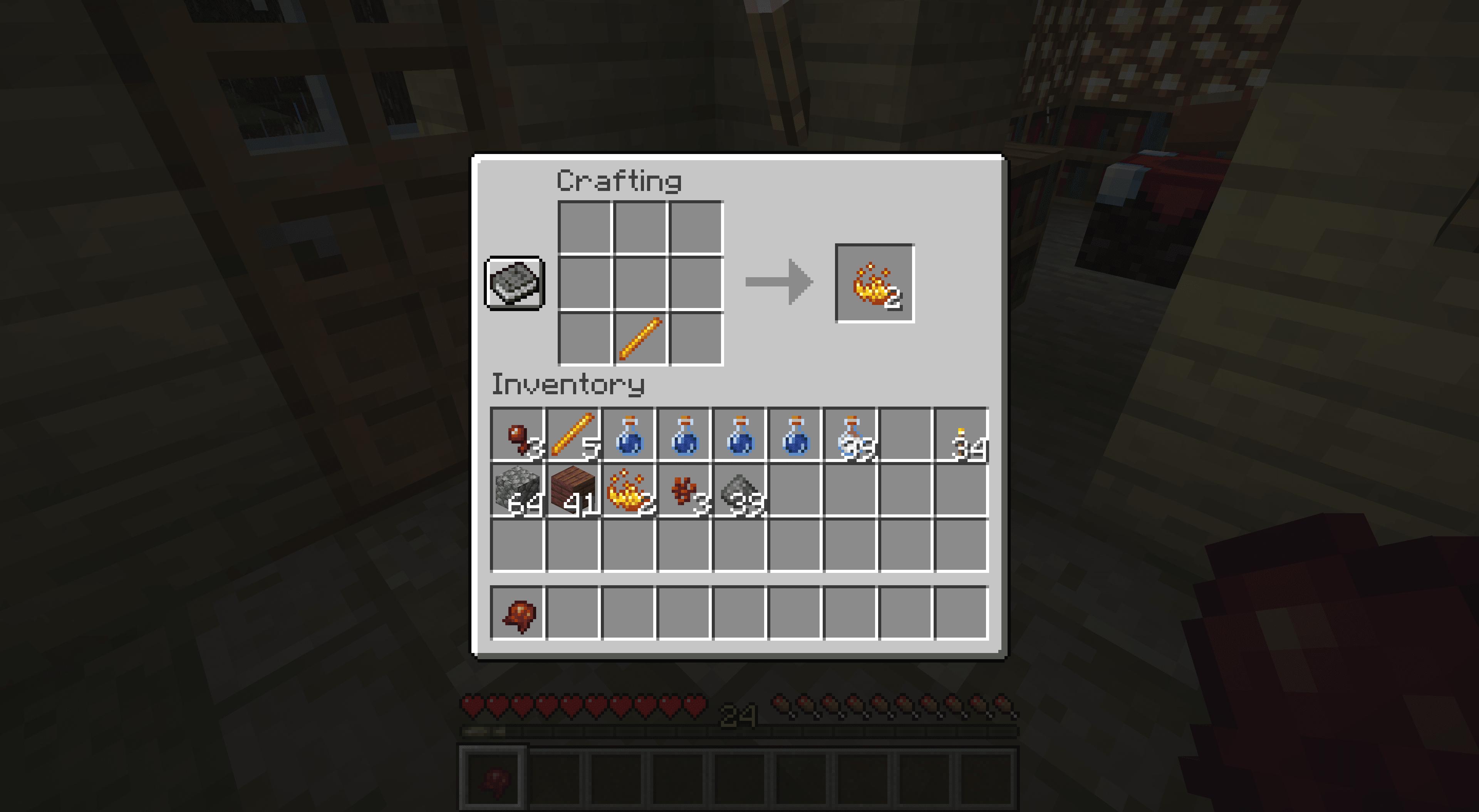 Making blaze powder in Minecraft.
