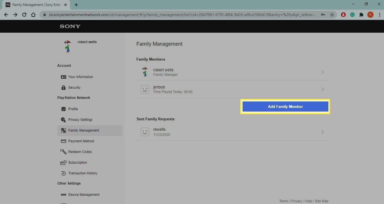 Add Family Member in PSN Family Account settings.