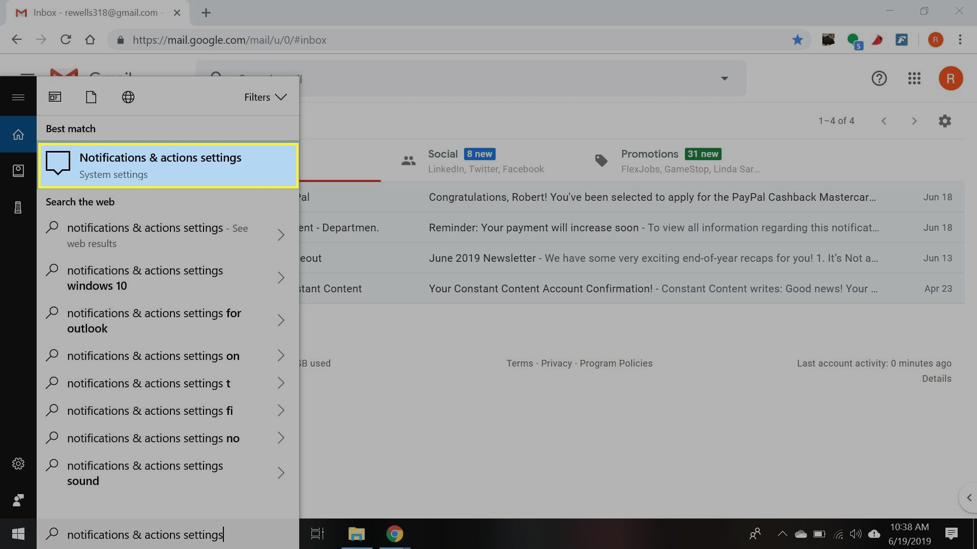 Windows with Notifications & Actions settings highlighted
