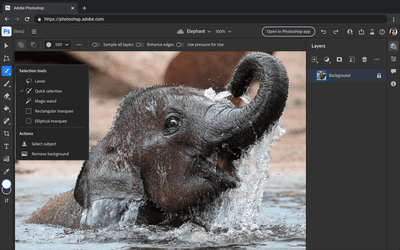 New Photoshop on the Web Beta