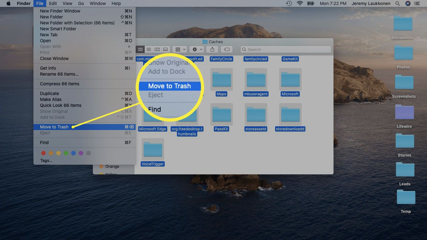 A screenshot of deleting cache files on a Mac.