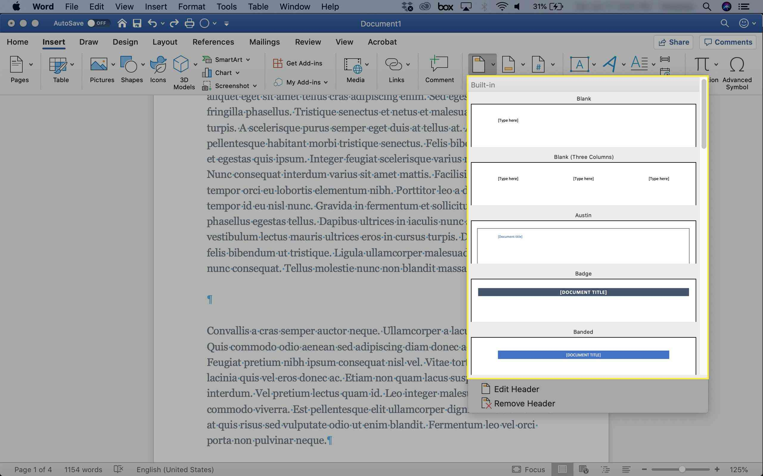 A screenshot of Word with the Header options highlighted