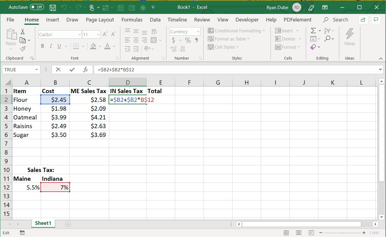 Screenshot of filling Excel to the right with an absolute column