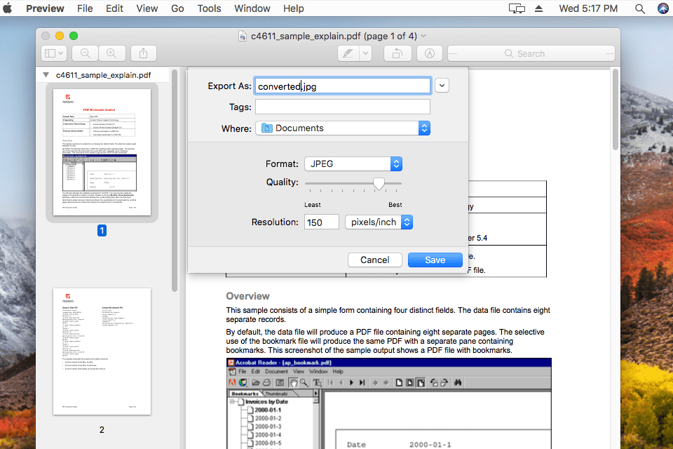 The PDF to JPG converter in Preview for macOS