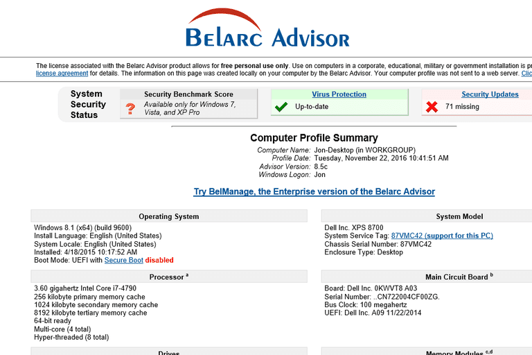 Screenshot of Belarc Advisor 8.5c in Windows 10