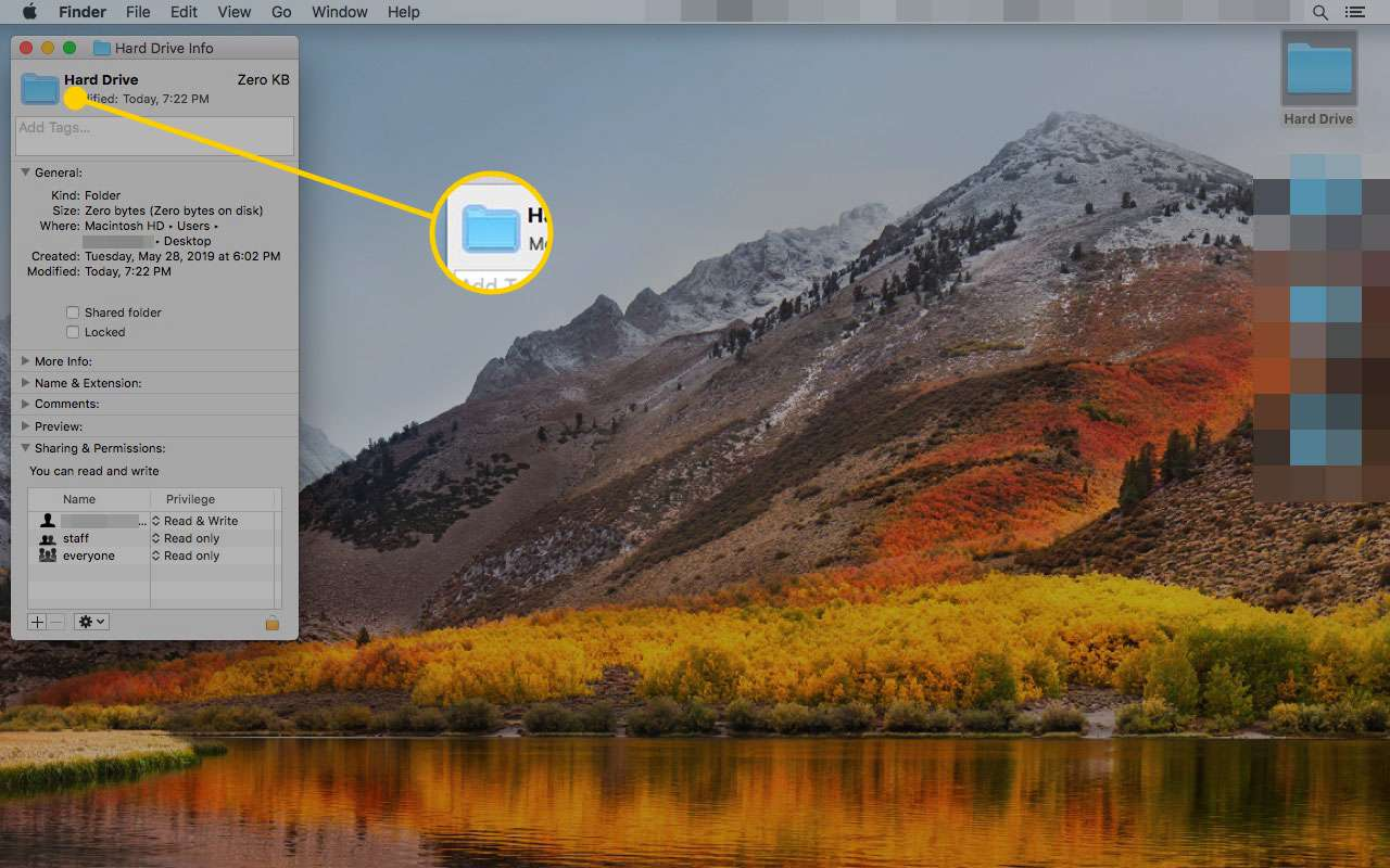 Get Info window on a Mac with the thumbnail highlighted