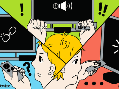 Illustration of a person trying to troubleshoot Apple TV problems.
