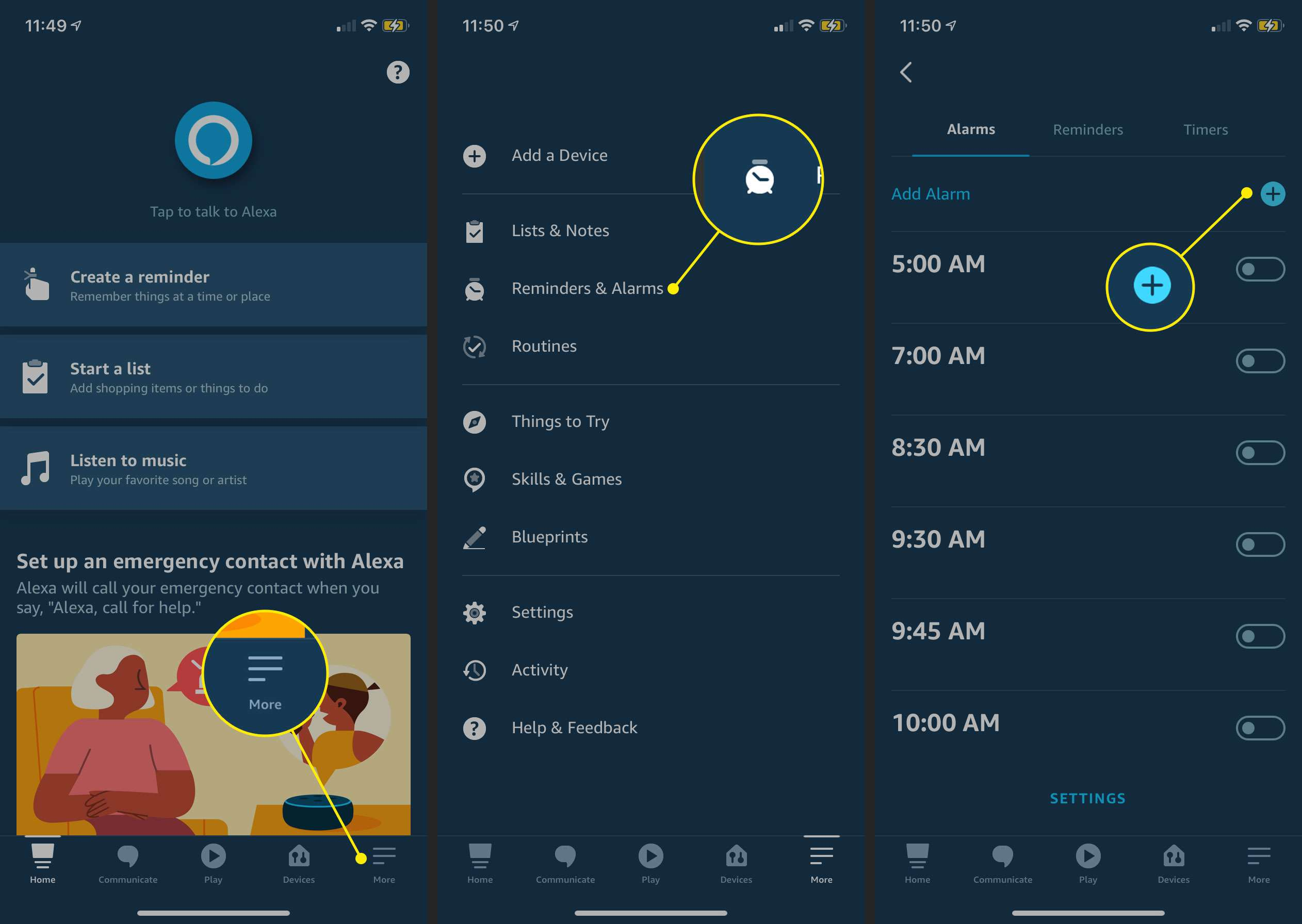 The More menu, Reminders & Alarms, and Add Alarm button in the Alexa app