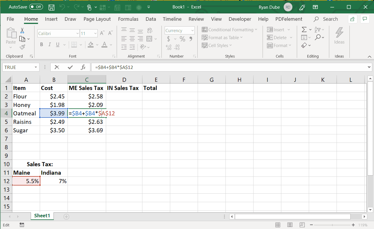 Screenshot of using the absolute reference for both column and row