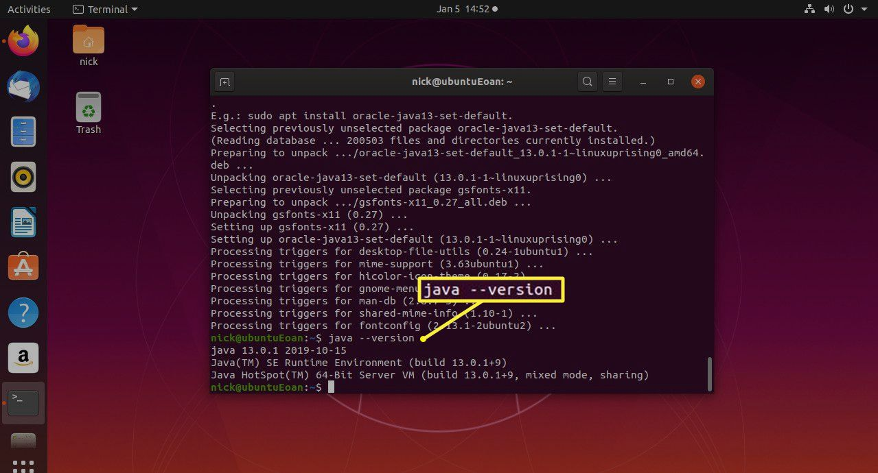 Ubuntu Oracle Java version