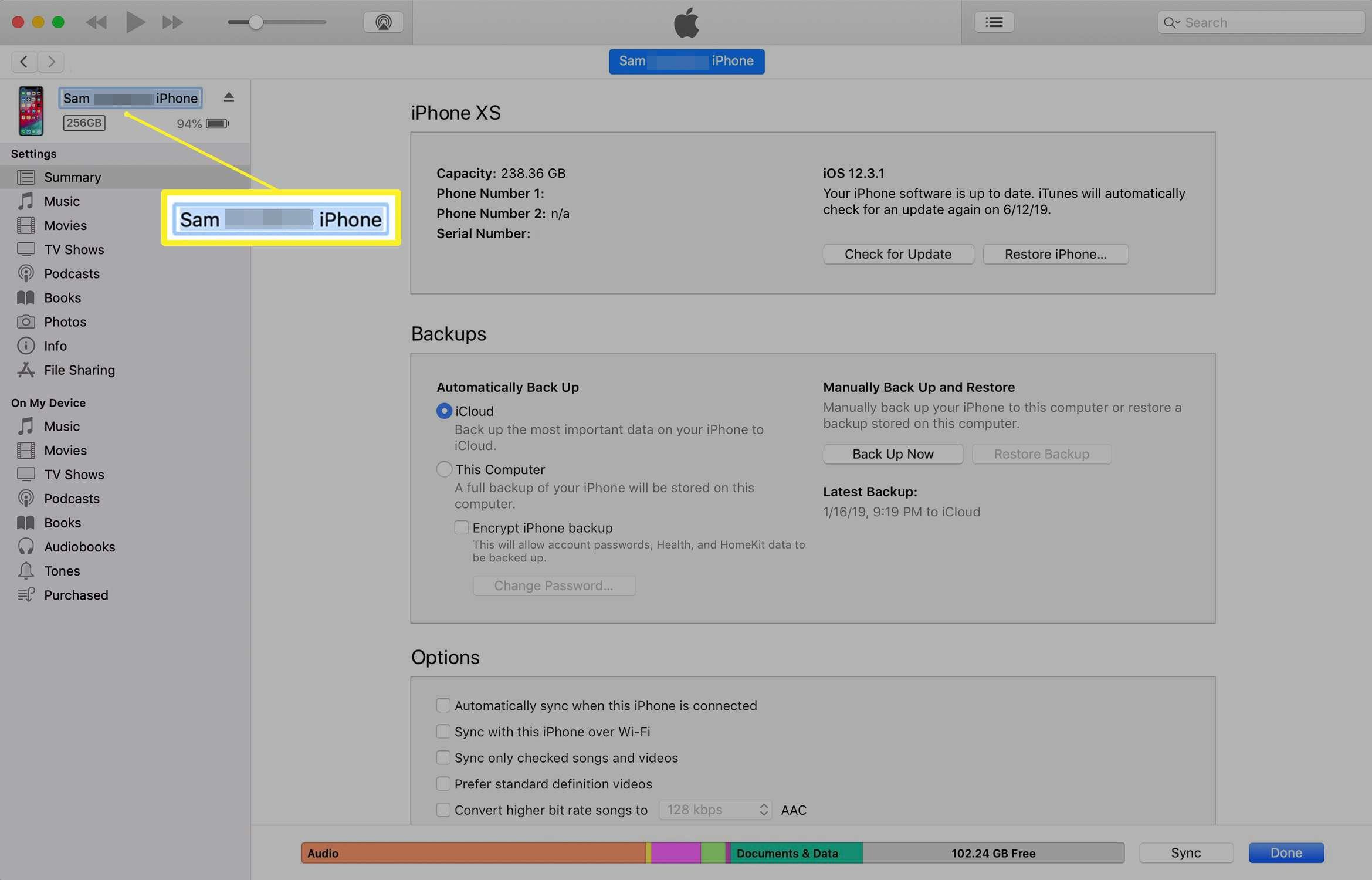 iTunes screen