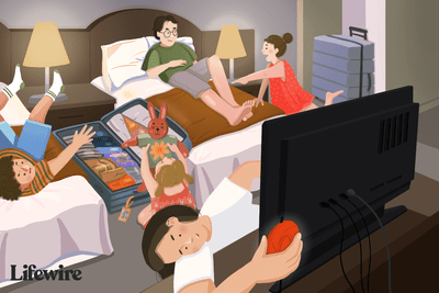 Illustration of a family in a hotel room with one person connecting a Chromecast to the television