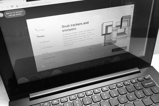 Black and White photo of a laptop with the TOR Browser open to an explanatory Privacy screen that says