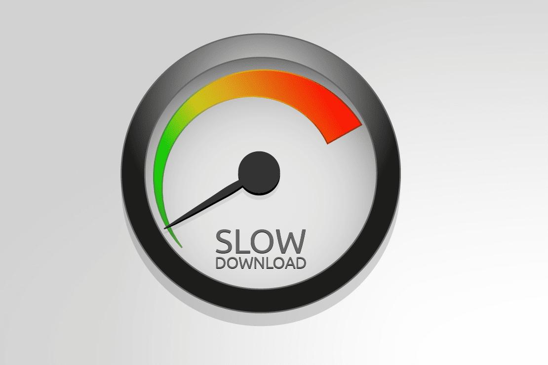 Illustration of a slow download meter