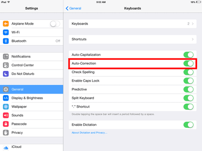 It's easy to turn off Auto-Correction once you know where the setting is located.
