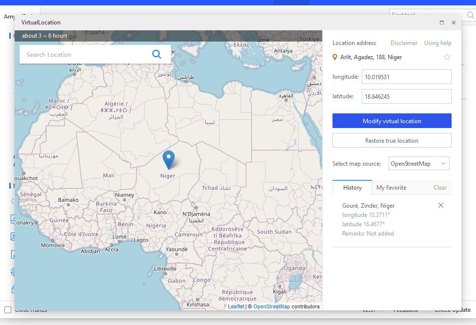 3uTools virtual location map