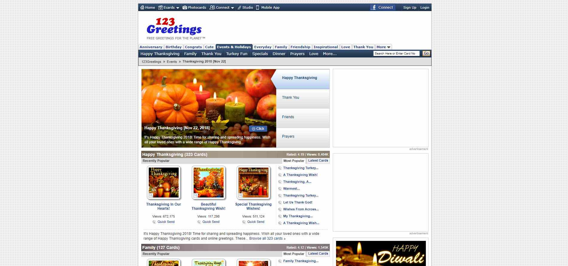 A Screenshot Of The Thanksgiving 2Card Selection On 123 Greetings Website
