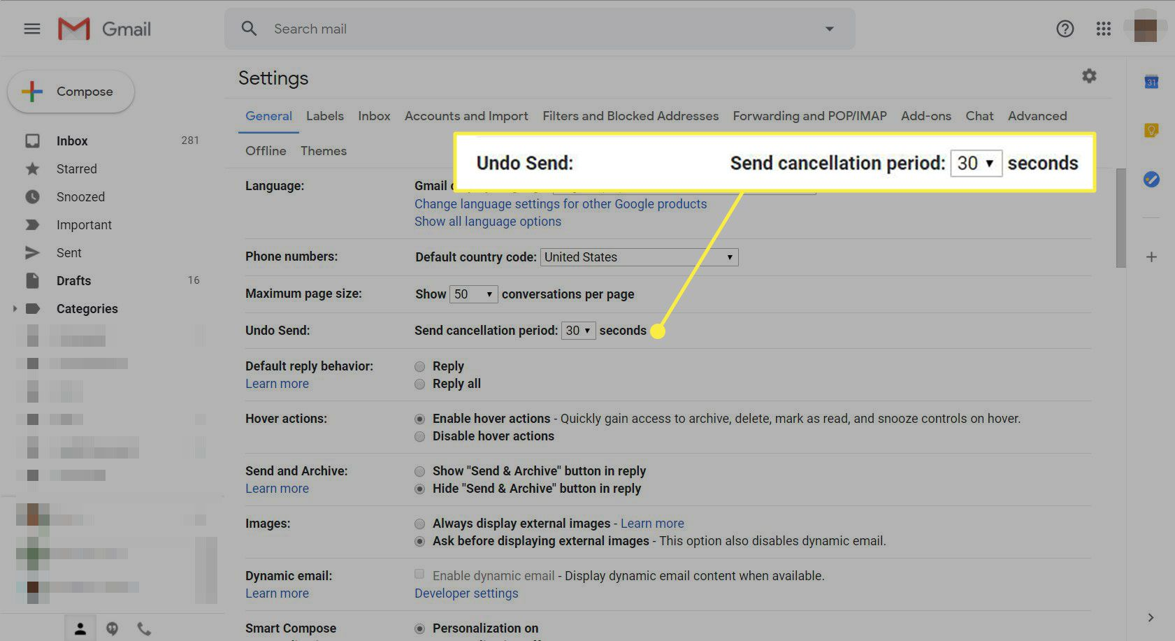 A screenshot of Gmail settings with the Undo Send options highlighted