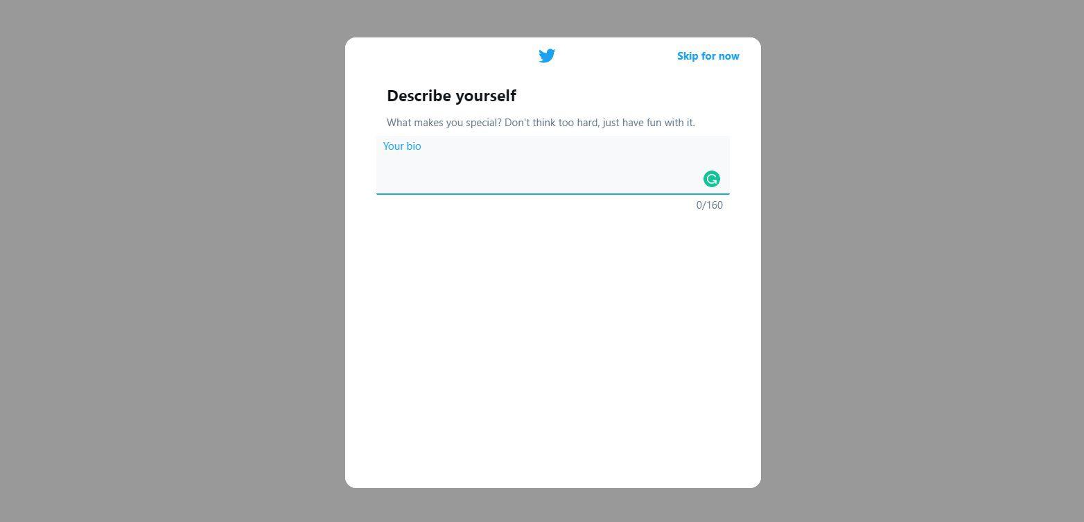 Twitter - Enter bio information