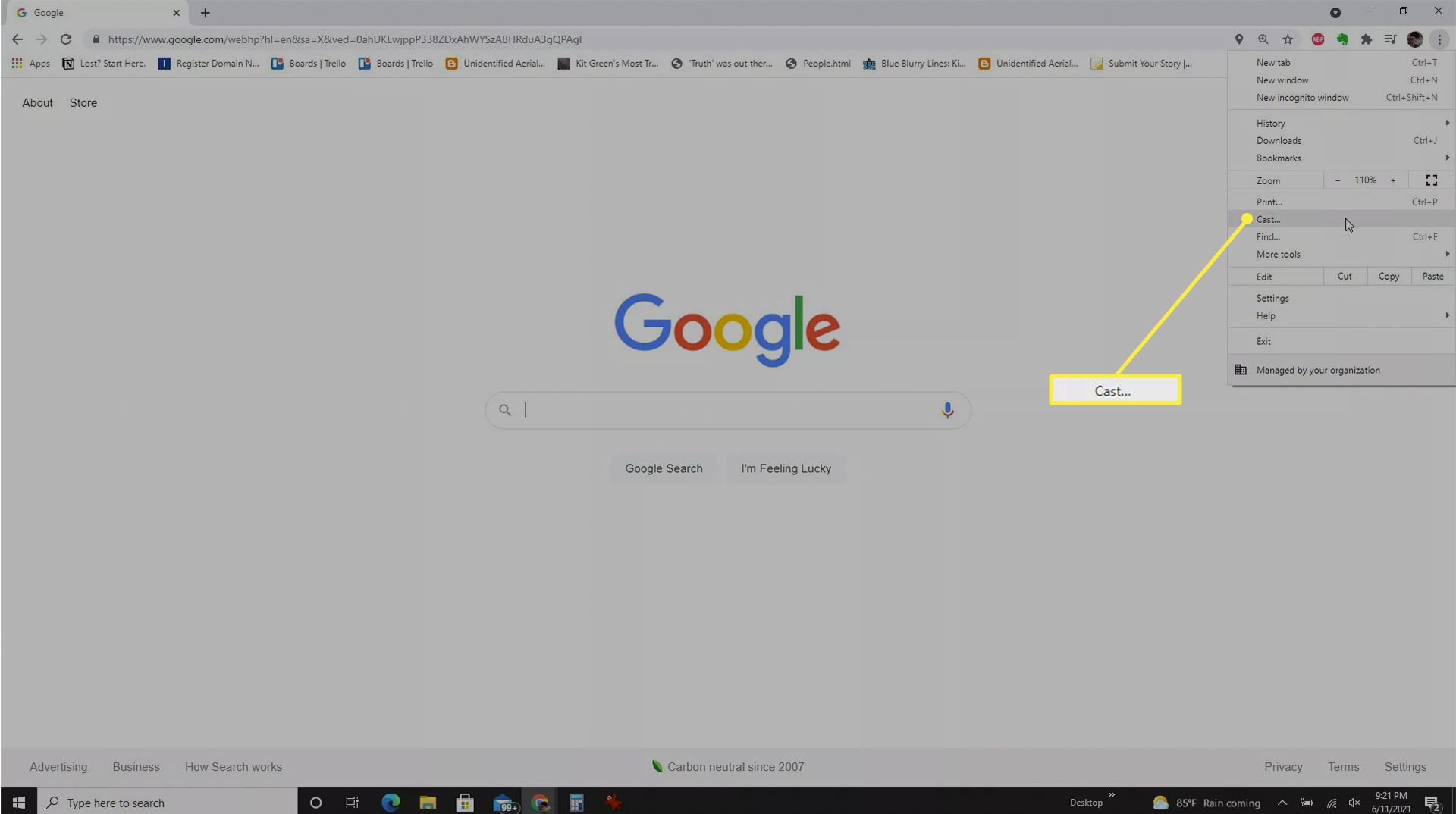 Opening the Cast menu from the Chrome browser.