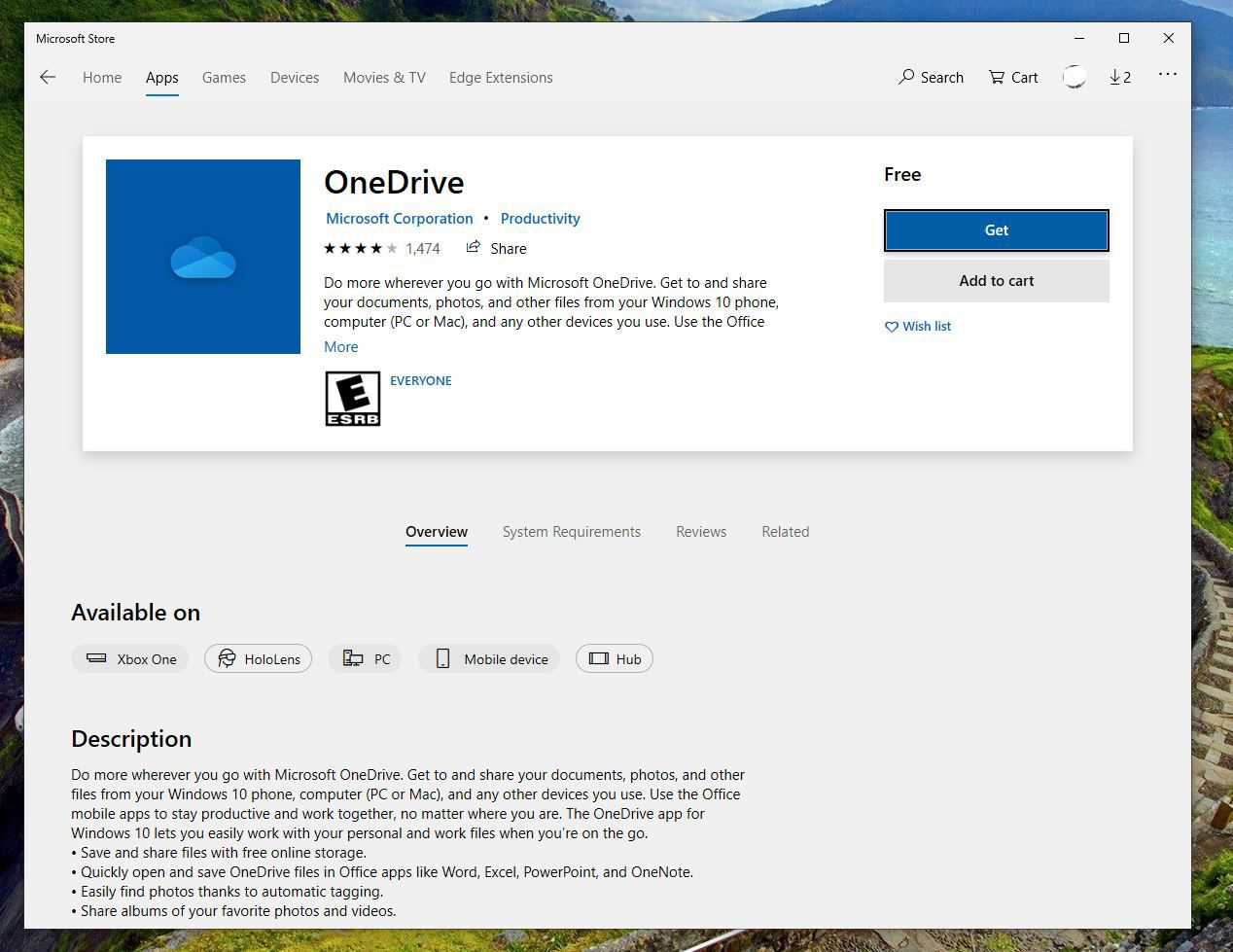 OneDrive app in the Microsoft Store