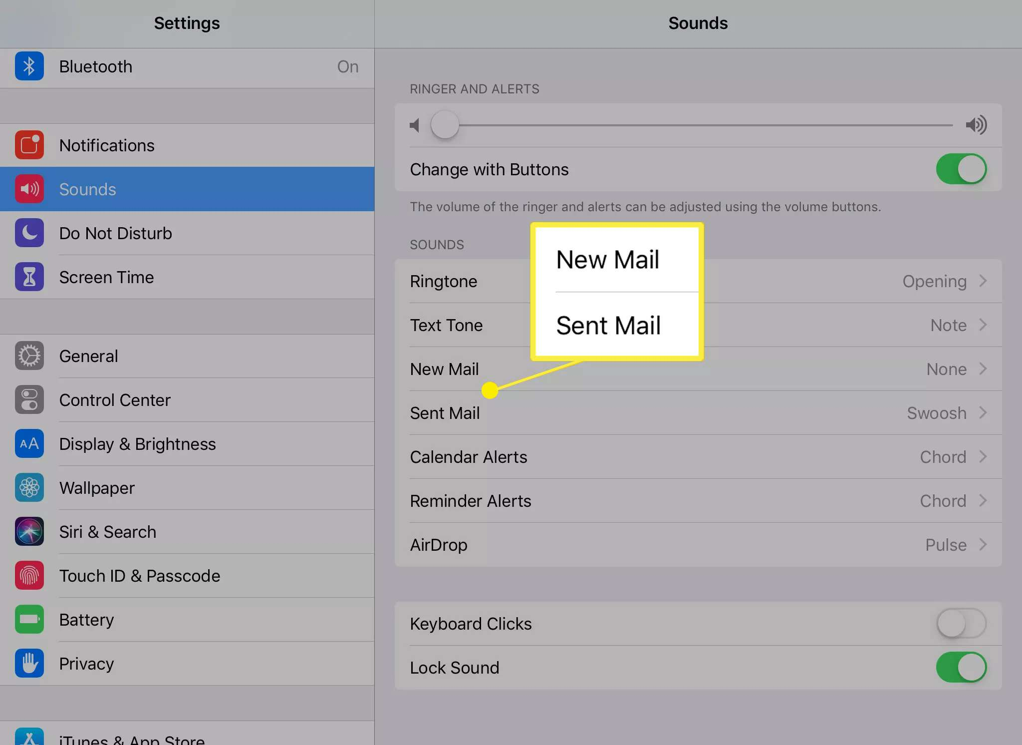Sound settings for New Mail and Sent Mail on iPad