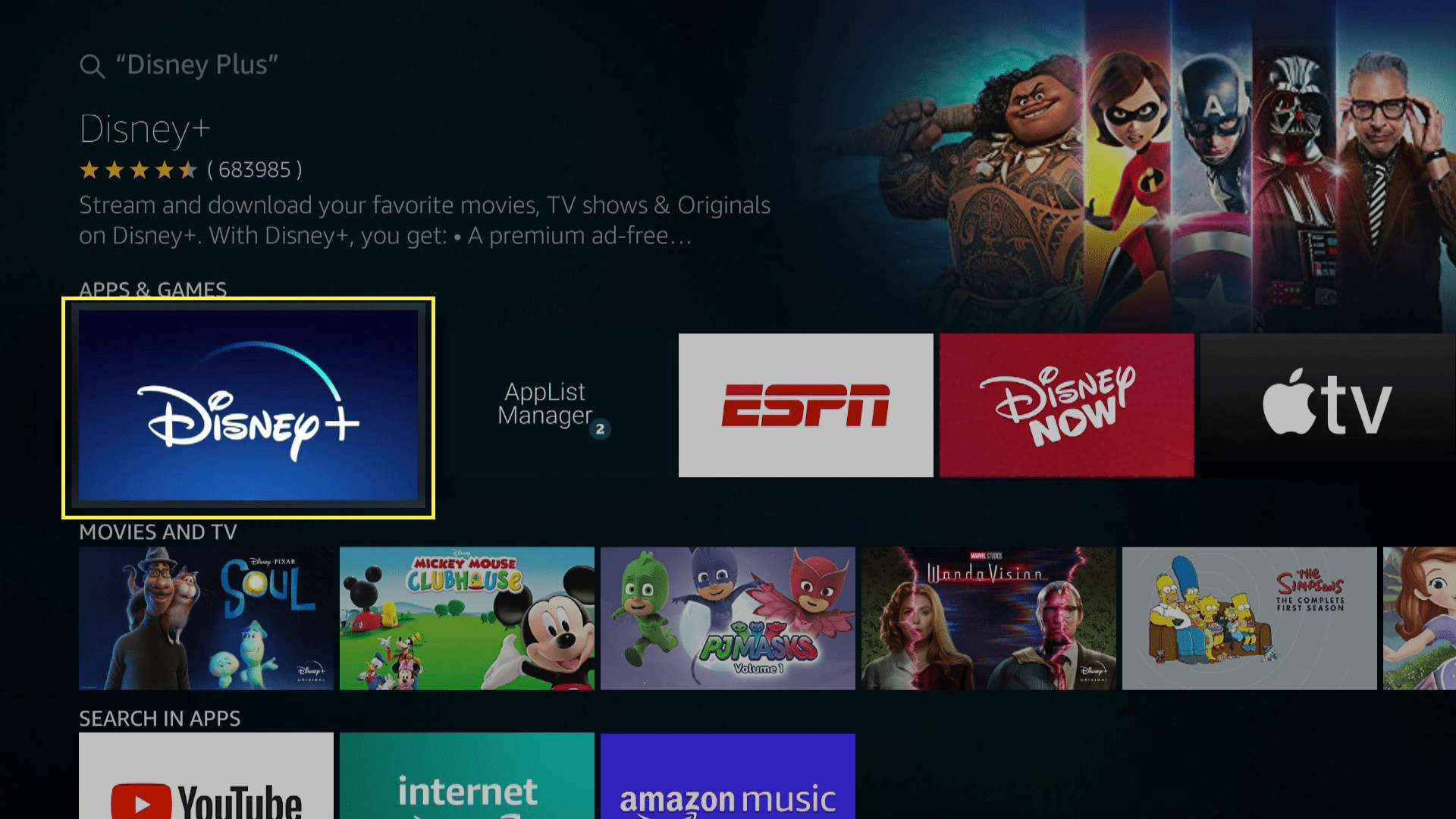 Disney Plus in the search results on a Fire TV.