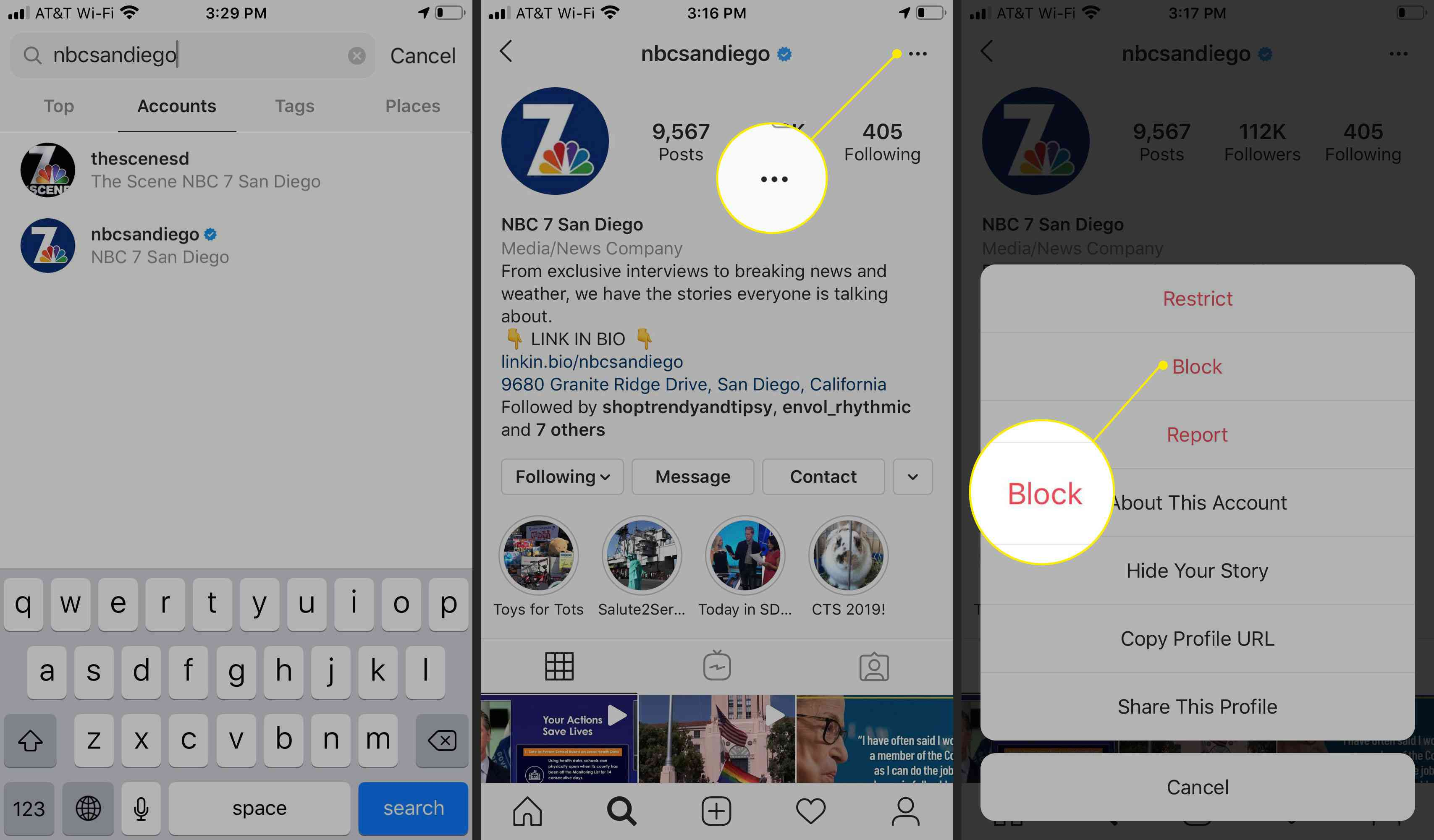 The menu button and Block option in Instagram