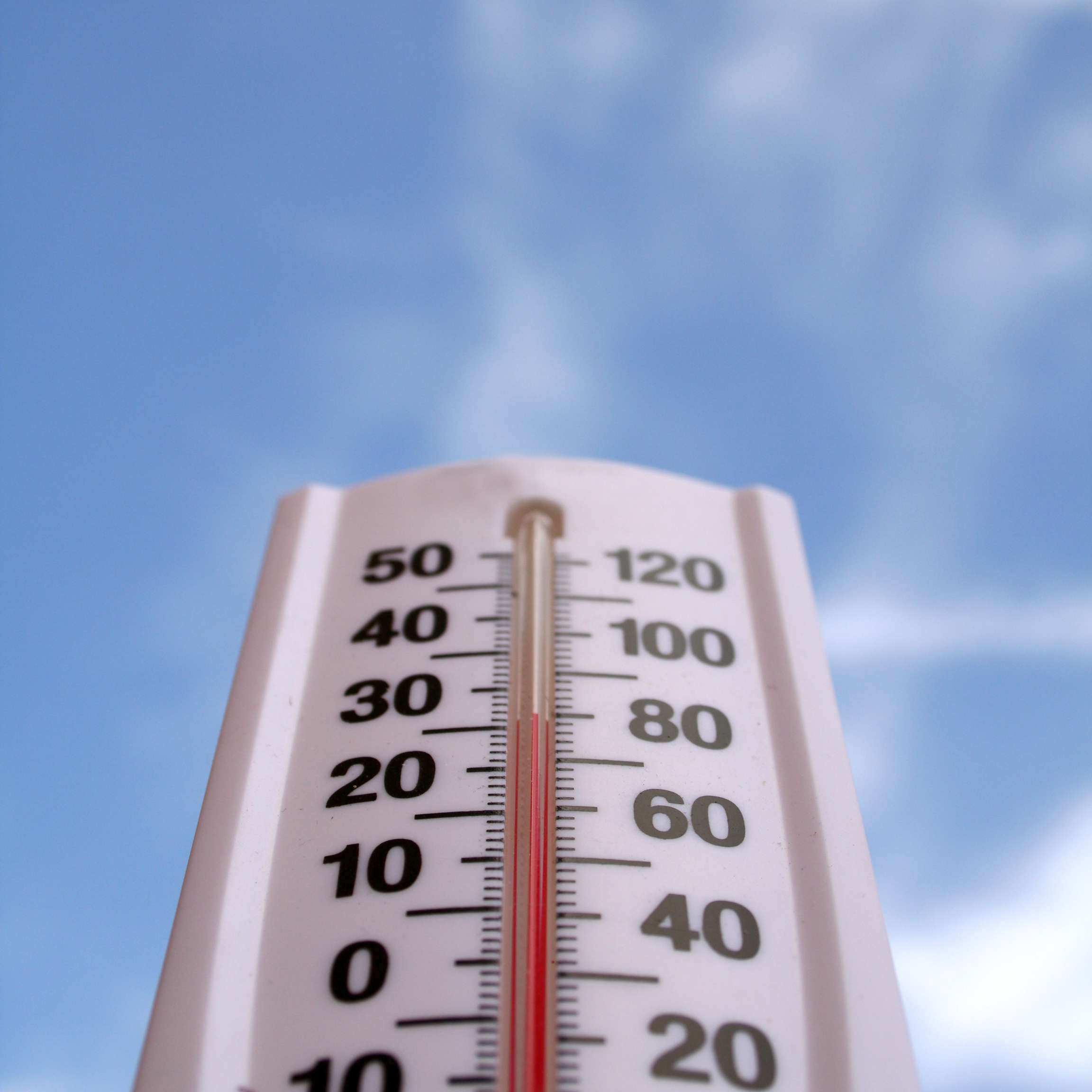 A thermometer showing Celsius and Fahrenheit temps against a blue sky with light clouds.