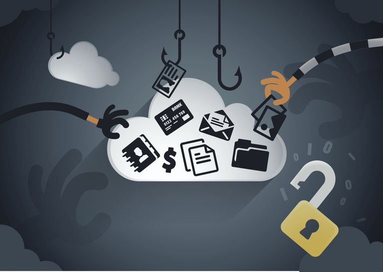 Illustration of criminal hands attacking and stealing from cloud services