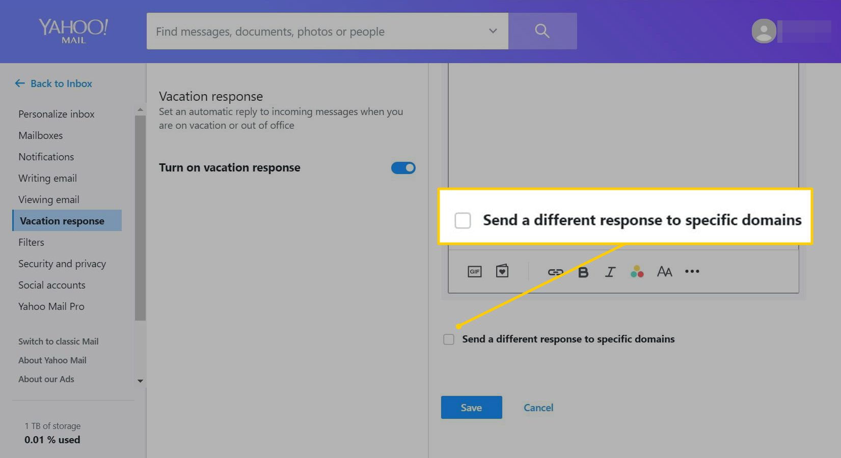 Send a different response to specific domains option in Yahoo Mail