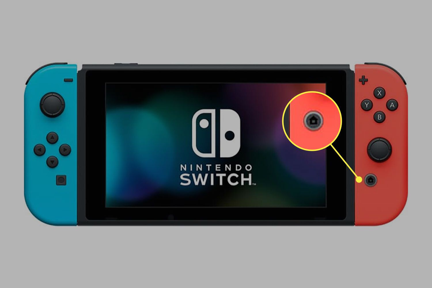 Nintendo Switch with home button highlighted.