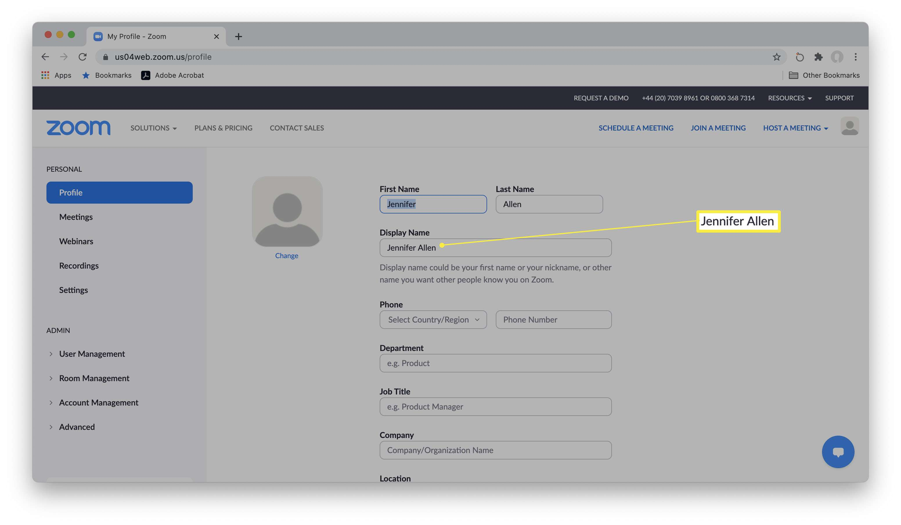 Zoom website with edit profile info open and Display Name highlighted