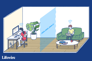 Illustration of two people in one room with a virtual