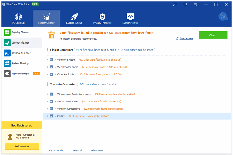Screenshot of Wise Care 365 v5.1.4 in Windows 10