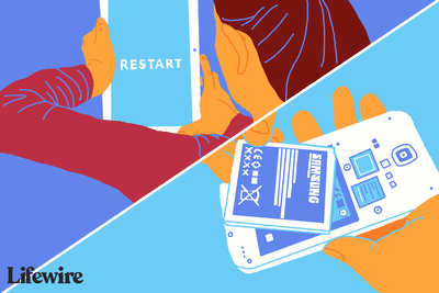 Restart logo on an Android tablet and a battery coming out of an Android phone