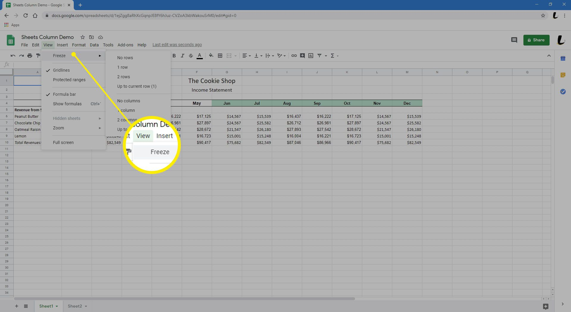 Google Sheets is showing a spreadsheet populated with data.